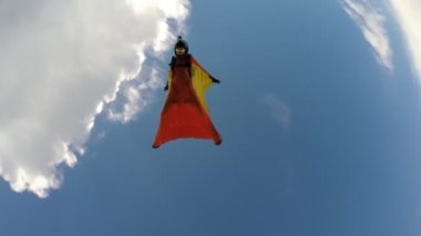 Flying wingsuit skydiving — Stok video