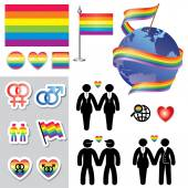 Gay map icons — Stock Vector