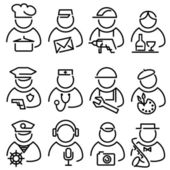 Set line peoples icons — Stock Vector