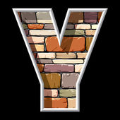 Stone letter Y — Stock Vector