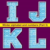 Winter ABC. Part 3 — Stock Vector