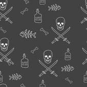Pirate Skulls with Crossed Swords Seamless Pattern — Stock Vector