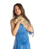 Mooi meisje met kat — Stockfoto