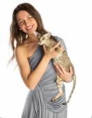Hezká dívka s kočkou — Stock fotografie