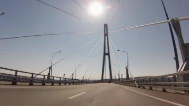 Bridge from Vladivostok to Rusky Island — Stock Video