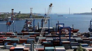 Vladivostok sea trading port — Vídeo Stock
