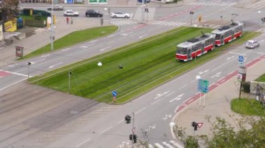 Aerial view on roundabout in Brno — Stock Video