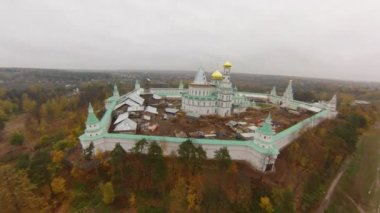 Aerial view to The temple complex of the New Jerusalem. — Стоковое видео