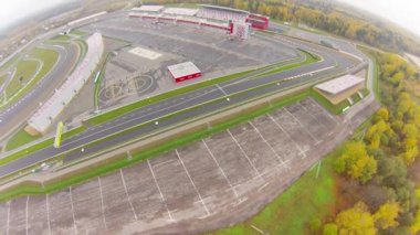 Empty Race ring before race. Aerial view. — Stock video