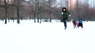Sledges crash down. Family playing outdoors — Stock Video