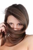 Woman Hide  face in hair — Стоковое фото