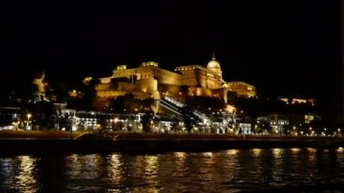 Royal Palace or Buda Castle at evening — Stock Video