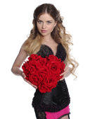 Pretty woman hold big flower heart. — Stock Photo