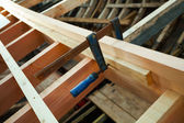 Unfinished Wooden boat. Detail — Stock Photo