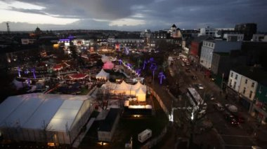 Christmas Market at night. Panoramic Areal view — Stock Video