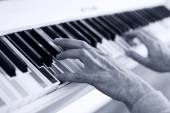 Piano with multy colour keys. Close up — Stock Photo