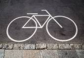 Bicycle road sign and arrow — Stock Photo
