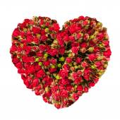 Valentines Day Heart Made of Red Roses Isolated on White Background — Stock Photo