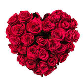 Valentines Day Heart Made of Red Roses Isolated on White Background — Foto de Stock