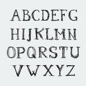 Alfabeto vectorial. cartas dibujadas a mano. letras del alfabeto escrito con un cepillo. — Vector de stock