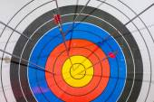 Arrows missed target. concept of fail-diligent. — Stock Photo