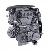 Modern car engine isolated on white background. — Stock Photo