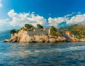 Sveti Stefan, small islet and resort in Montenegro. Balkans, Adriatic sea, Europe. Beauty world. — Stock Photo
