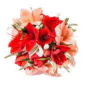 Beautiful colorful fresh flowers bouquet isolated on white background — Stock Photo