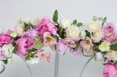 Part of wedding arch with pink and white flowers — Stock Photo