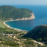 The panorama view of city beach in Montenegro — Stock Photo #78092694