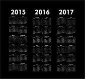 Vektorové kalendáře let 2015 2016 2017 — Stock vektor