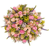 Bouquet of flowers top view isolated on white — Stock Photo