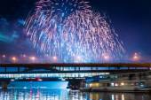 Fireworks over Moscow river, Russia — Stock Photo