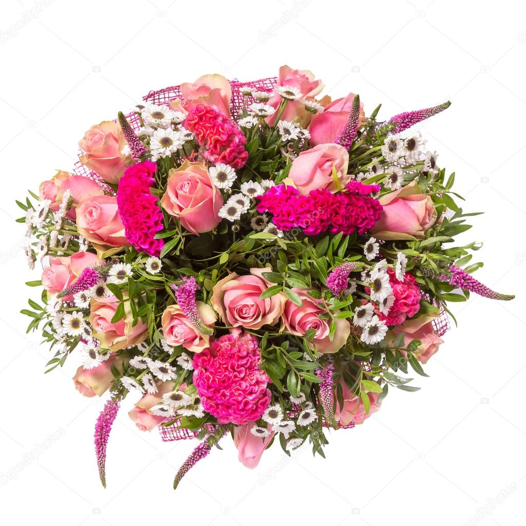 Bouquet Of Flowers Top View Isolated On White Stock