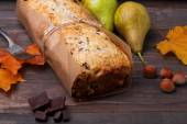 Homemade cake with pears and chocolate — Stock Photo
