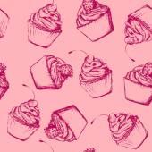 无缝模式与素描风格纸杯蛋糕 — Stock vektor