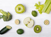 Green colored fruits and vegetables — Stock Photo