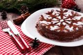 Chocolate Christmas cake — Stock Photo