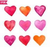 Six watercolor vector hearts — Stock vektor