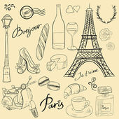 Paris symbols vector set — Stock Vector