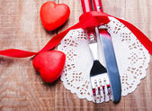 Valentine's day table setting concept — Stock Photo