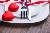 Valentine's day table setting concept. — Stock Photo