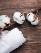 Tecido de algodão de algodão branco e um brunch — Fotografia Stock