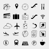 Set of airport and travel icons  — Cтоковый вектор
