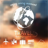 Blurred sunset sky and travel icons — Stock Vector