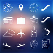 Set of flight and airport flat simple icons — Vettoriale Stock