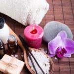 Spa still life with vanilla pods, hand made soap, aroma oils — Foto de Stock   #64719165