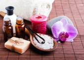 Spa still life with vanilla pods, hand made soap and aroma oils — ストック写真