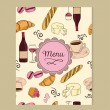 Menu template with french style doodles — Stock Vector #66737563