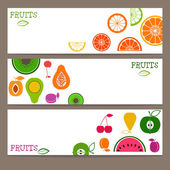 Set of three banners  with bright flat style fruits  — 图库矢量图片